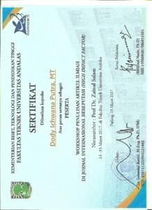 Sertifikat Pelatihan Penulisan Jurnal Internasional Document Repository Universitas Andalas