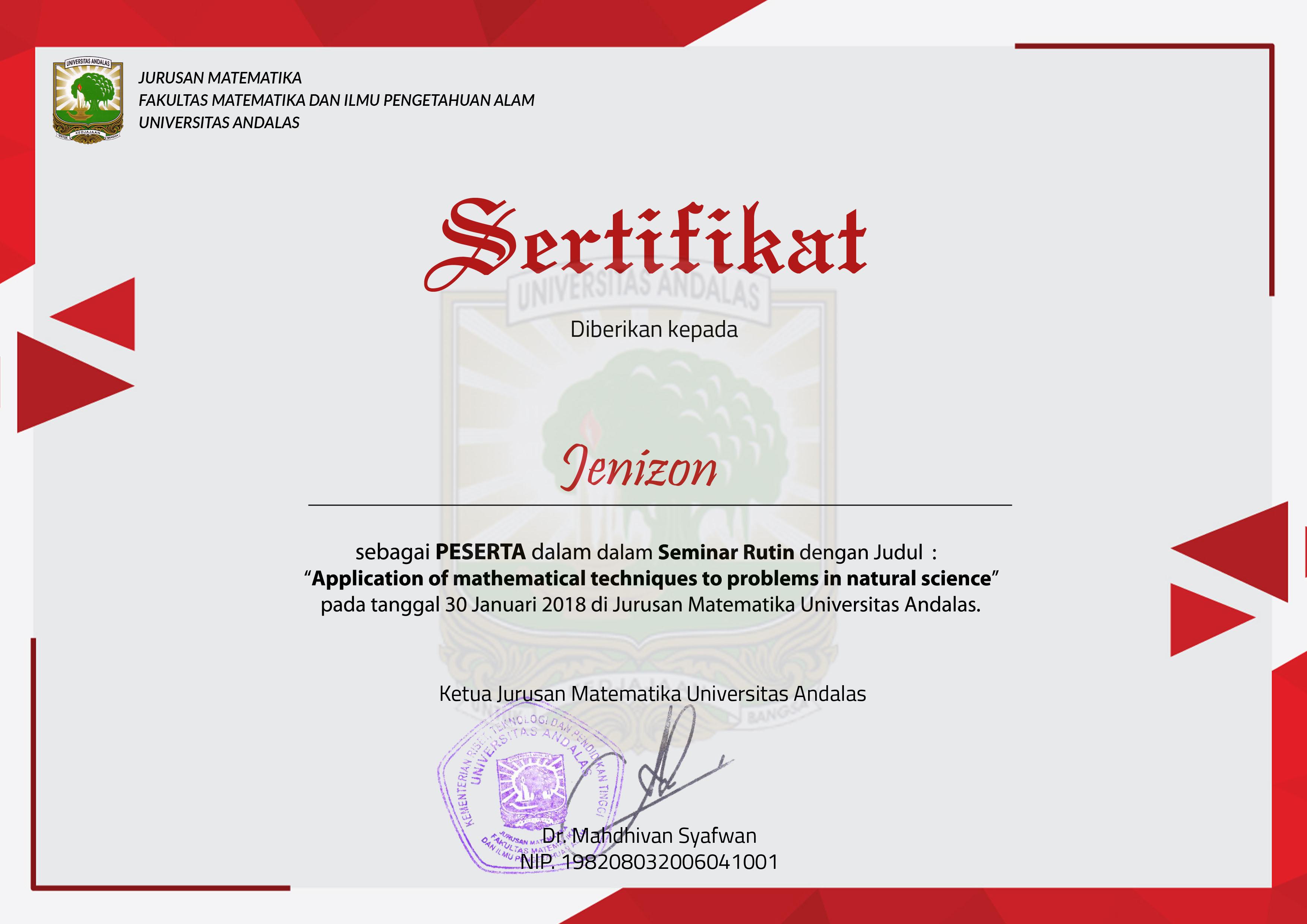 Sertifikat Seminar Rutin Application Of Mathematical Technics To