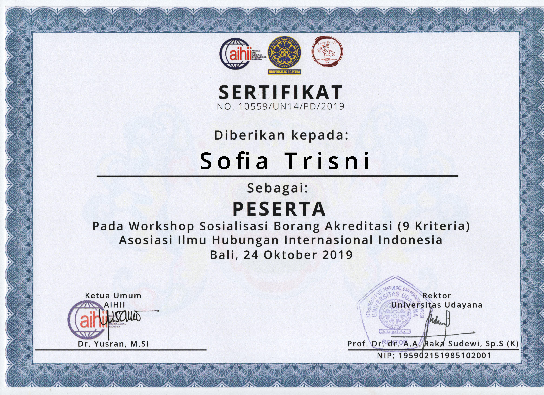 Sertifikat Sofia Trisni Sebagai Peserta Workshop Borang Akreditasi