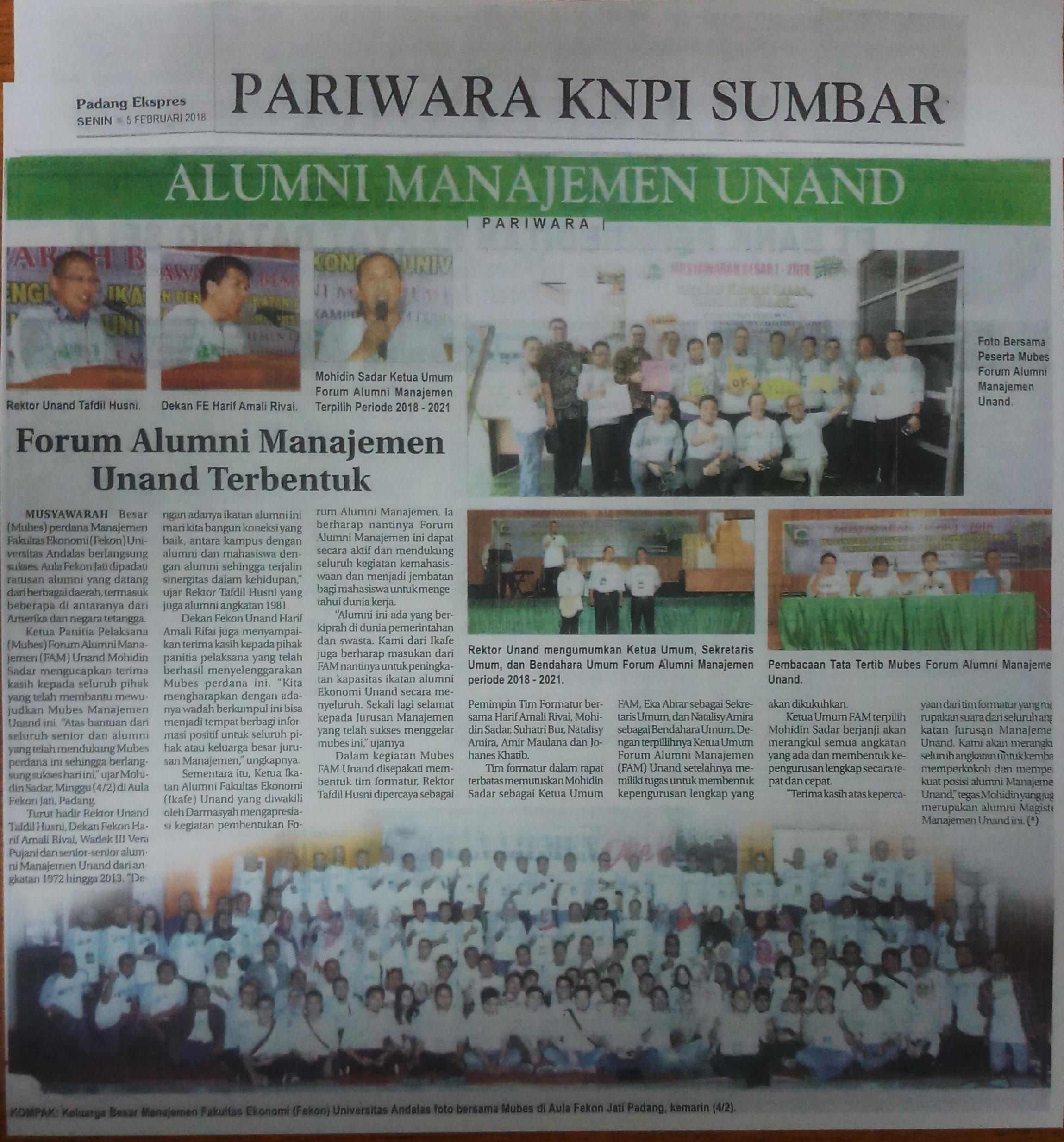 Forum Alumni Manajemen Unand Terbentuk (Kliping Padang Ekspres Senin, 5 Februari 2018)