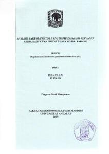 Analisis Faktor Faktor Yang Mempengaruhi Kepuasan Kerja Karyawan Rocky Plaza Hotel Padang Document Repository Universitas Andalas
